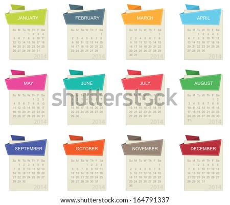 calendar for 2014 in square design with tabs isolated on white, eps 10 format. - stock vector