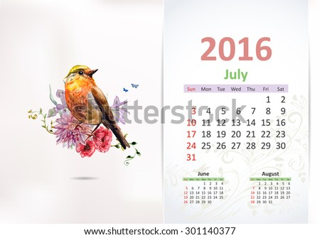Calendar for 2016, july - stock vector