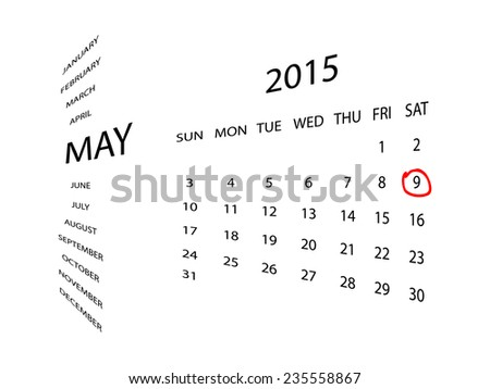 Calendar for May 2015, in perspective. Red marker circle for highlighting important dates. Simple illustration, isolated on white. - stock vector