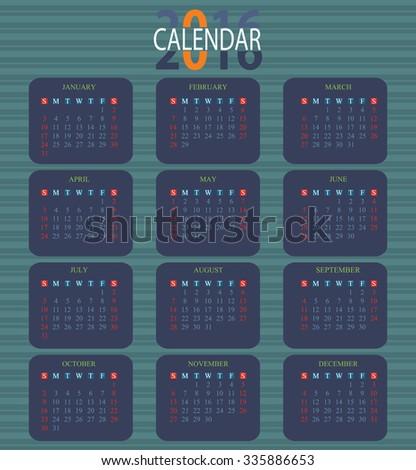 Calendar for 2016 on green Background, week start sunday, vector illustration. - stock vector