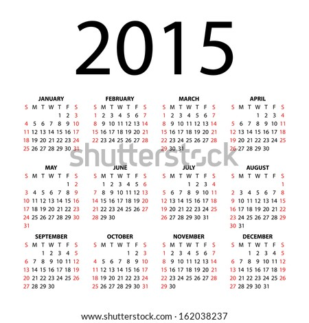 Calendar for 2015 on white background. Vector EPS10. - stock vector
