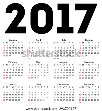 Calendar for 2017 on white background. Vector EPS10. - stock vector