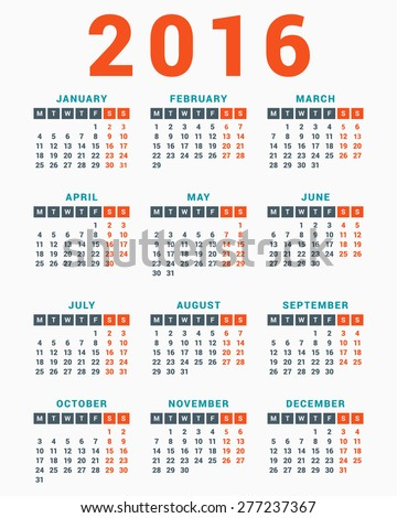 Calendar for 2016 on White Background. Week Starts Monday. Simple Vector Template - stock vector