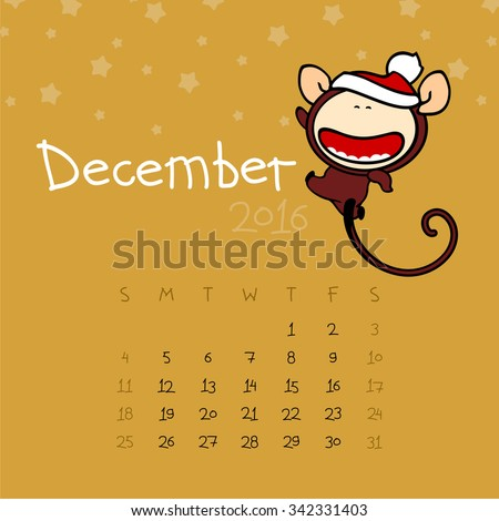 Calendar for the year 2016 - December - stock vector