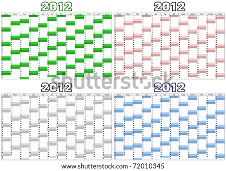 calendar for the year 2012 in English in four different colors - stock vector