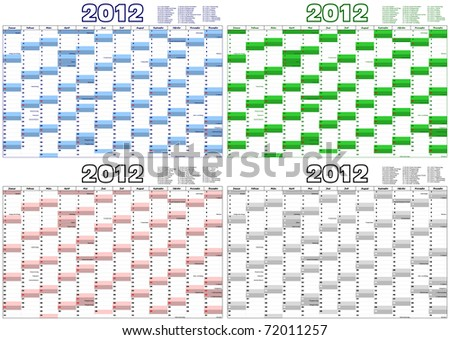 calendar for the year 2012 in German with german official holidays - stock vector