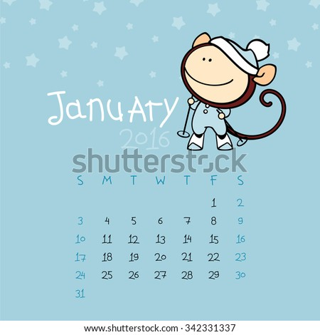 Calendar for the year 2016 - January - stock vector