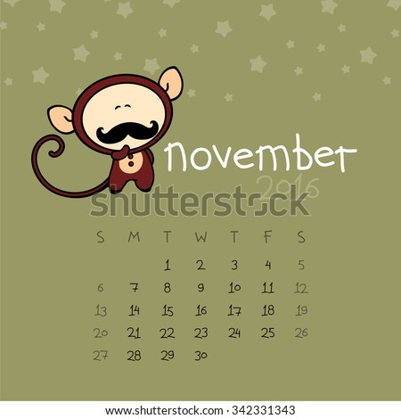 Calendar for the year 2016 - November - stock vector