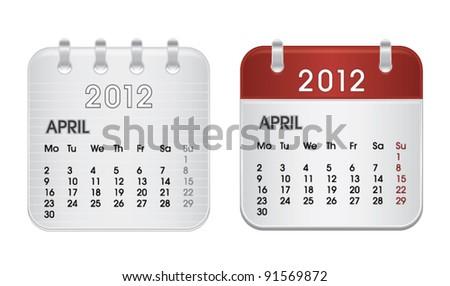 Calendar for 2012, web icon collection, April, vector illustration - stock vector