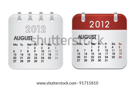 Calendar for 2012, web icon collection, August, vector illustration - stock vector