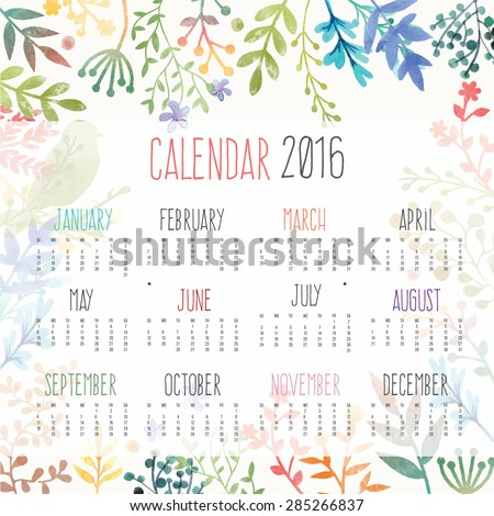 Calendar for 2016 with flower - stock vector