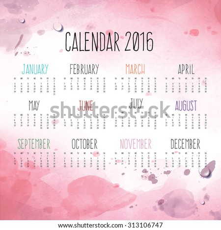 Calendar for 2016 with pink background  - stock vector