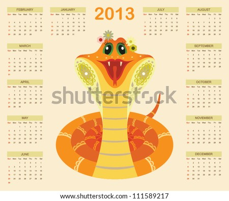 Calendar for 2013 year with smiled snake (week starts with sunday). vector eps 8 - stock vector