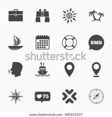 Calendar, go to web and like counter. Cruise trip, ship and yacht icons. Travel, cocktails and palm trees signs. Sunglasses, windrose and swimming symbols. Sms speech bubble, talk symbols. - stock vector