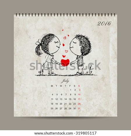 Calendar grid 2016 design, july. Couple in love together. Vector illustration - stock vector