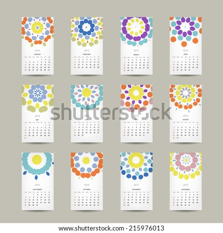 Calendar grid 2015 for your design, floral ornament - stock vector