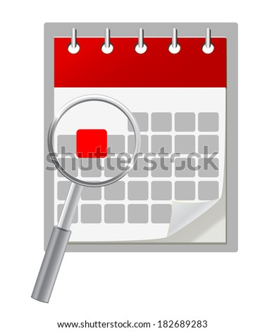 Calendar icon and magnifying glass - stock vector