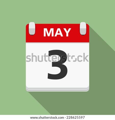Calendar icon, flat design with long shadow, vector eps10 illustration - stock vector
