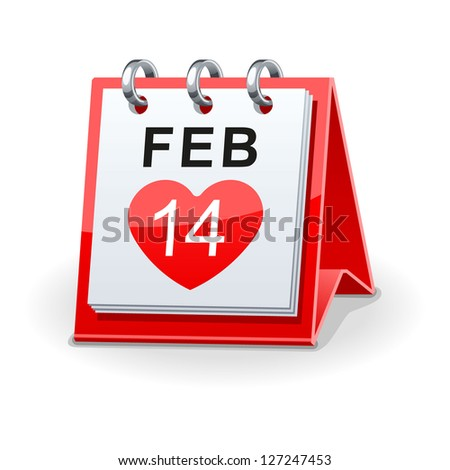 calendar icon for valentines day - stock vector