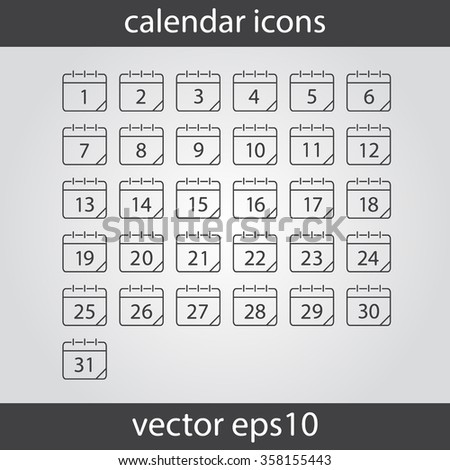 Calendar icon, vector eps10 illustration. Calendar Date.  Modern icons for your work: document, presentation, web and mobile applications, infographic,cover, poster, report, flyer, banner. Numbers  - stock vector