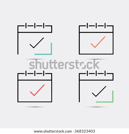 Calendar icon, vector eps10 illustration. Calendar Date. Modern icons for your work: document, presentation, web and mobile applications, infographic,cover, poster, report, flyer, banner. Check mark - stock vector