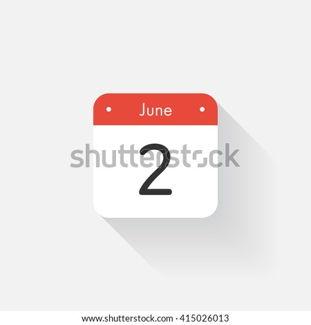Calendar Icon with long shadow. Flat style. Date,day and month. Reminder. Vector illustration. Organizer application, app symbol. Ui. User interface sign. June. 2 - stock vector