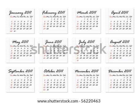 Calendar 2011 in English (vector) - stock vector