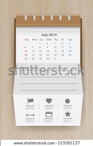 Calendar july 2014, Creative folded paper with business icon on wood texture background, workflow layout, diagram, step up options, web banner template, Vector illustration modern template design - stock vector
