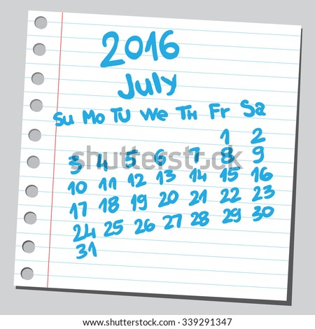 Calendar 2016 july (sketch style)  - stock vector