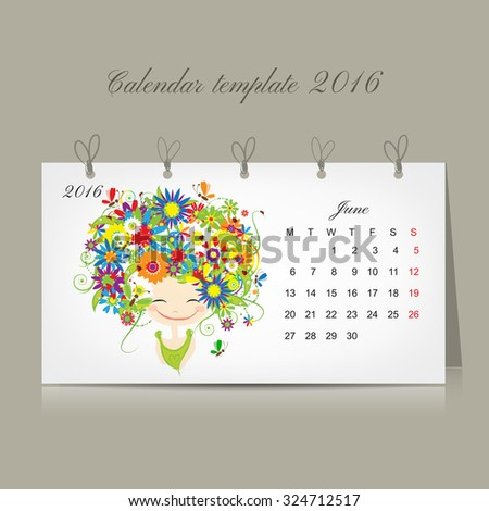 Calendar 2016, june month. Season girls design. Vector illustration - stock vector