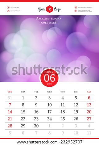 Calendar 2015 june month. Vector template with abstract background. Week starts sunday - stock vector