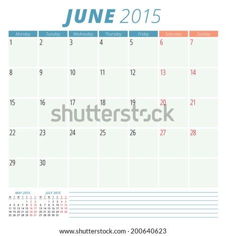 Calendar 2015 June vector design template  - stock vector