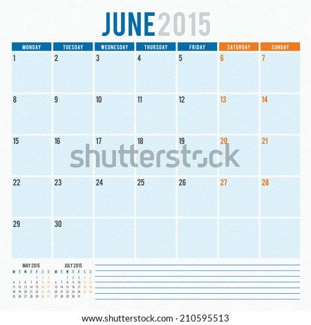 Calendar 2015 June vector design template - stock vector