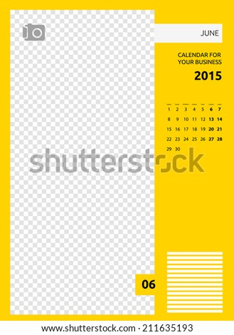 Calendar 2015, june. Vector, EPS. - stock vector