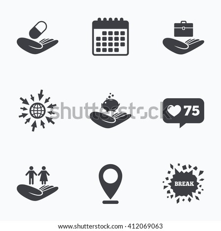 Calendar, like counter and go to web icons. Helping hands icons. Protection and insurance symbols. Financial money savings, health medical insurance. Human couple life sign. Location pointer. - stock vector