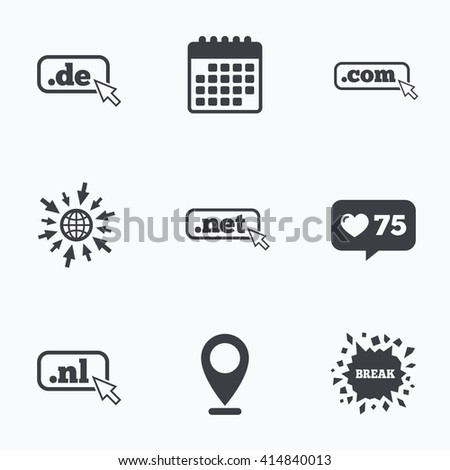 Calendar, like counter and go to web icons. Top-level internet domain icons. De, Com, Net and Nl symbols with cursor pointer. Unique national DNS names. Location pointer. - stock vector