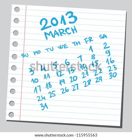 Calendar 2013 march (sketch style) - stock vector