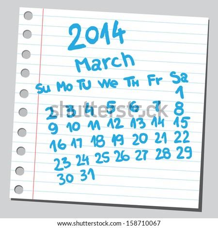Calendar 2014 march (sketch style)  - stock vector