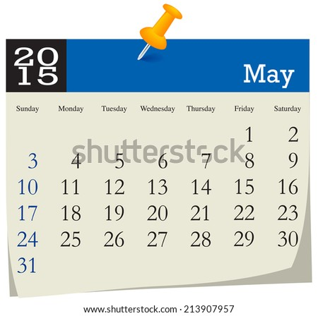 Calendar 2015 May - stock vector