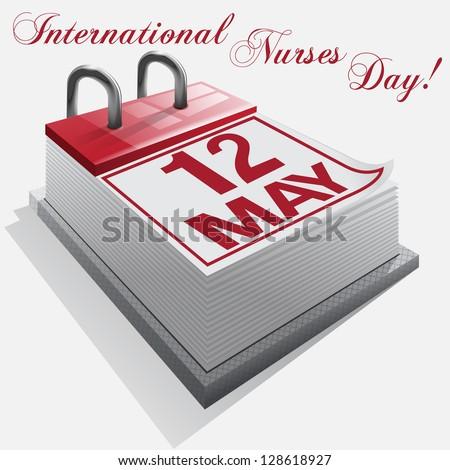 calendar.12 May. International Nurses Day.Vector - stock vector