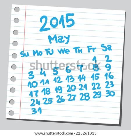 Calendar 2015 may (sketch style)  - stock vector