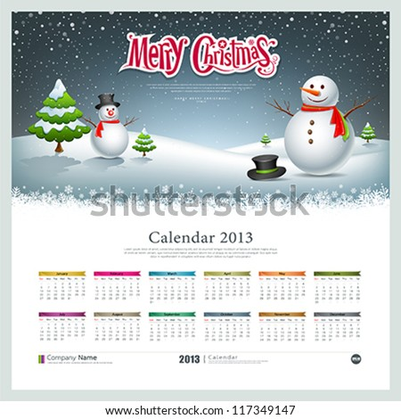 Calendar 2013, Merry christmas and snowman background, vector illustration - stock vector