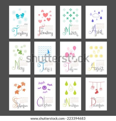 Calendar 2015 Mini Wall Lettering Monthly Sunday Start - stock vector