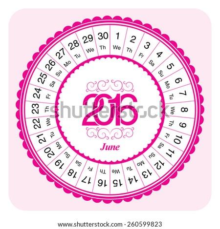 Calendar month June 2016, designed as circular - stock vector