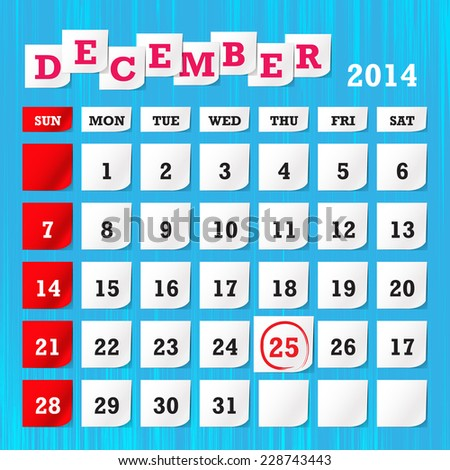 Calendar month of December 2014 - stock vector
