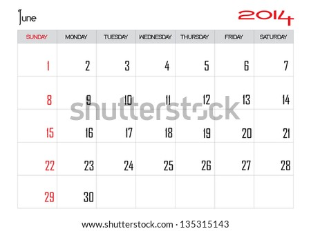 Calendar month of june 2014 in English - stock vector