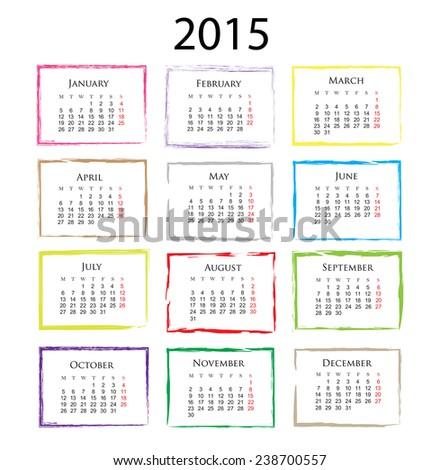 Calendar 2015.Months in color grunge frames.Stock vector. - stock vector