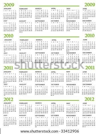 Calendar, New Year 2009, 2010, 2011, 2012 - stock vector
