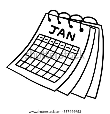 calendar of January / cartoon vector and illustration, black and white, hand drawn, sketch style, isolated on white background. - stock vector