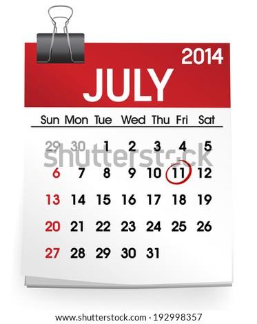 Calendar of July 2014 - stock vector